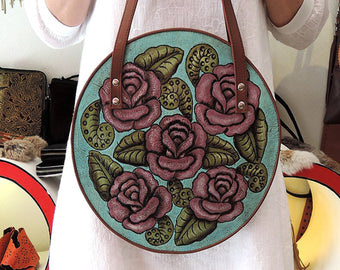 Honey Moon Bag Turqouise Pink Roses