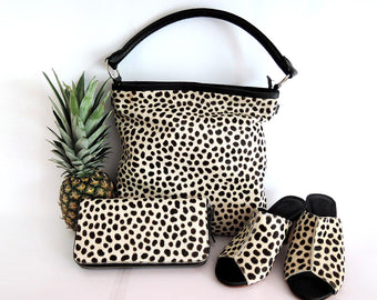 COWHIDE LEATHER TOTE Bag / Calf Hair Bag Black Dots / Crossbody Bag