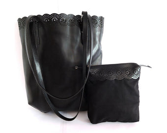 Black Leather Tote Bag. Market Bag. Sasha Handtooled Bag
