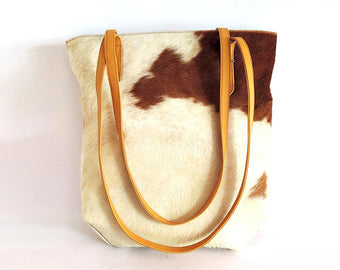Tan White tote Bag in Gorgeous Calf Hair. Sumi Bag