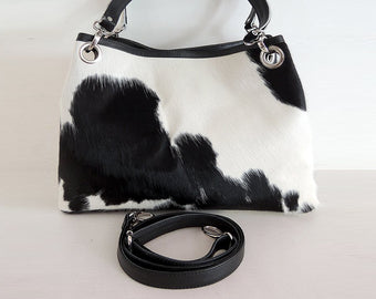 Elisa Bag in Black White Cowhide Hair