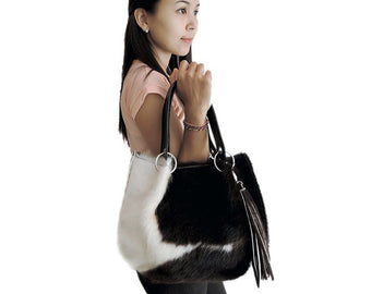 Top Handle Bag for Women in Black White Cow Hide Hair. Claire bag