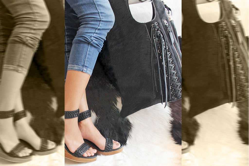 BLACK COWHIDE TOTE Bag W/ Woven Detail