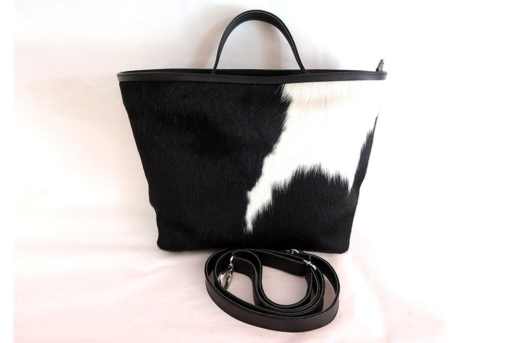Women's Leather Bag in Black White Cowhide Hair. Patty Bag