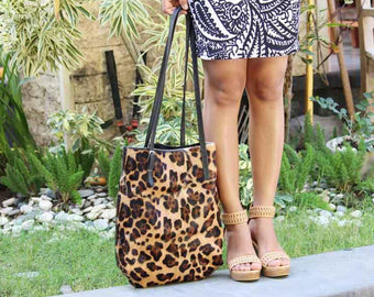 CHEETAH COWHIDE LEATHER Tote Bag / Calf Hair Bag / Small Bucket Bag