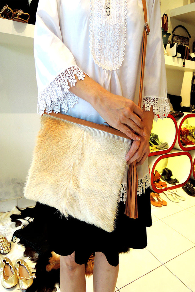 Crossbody bag in Cream Calf Hair. Grace Bag