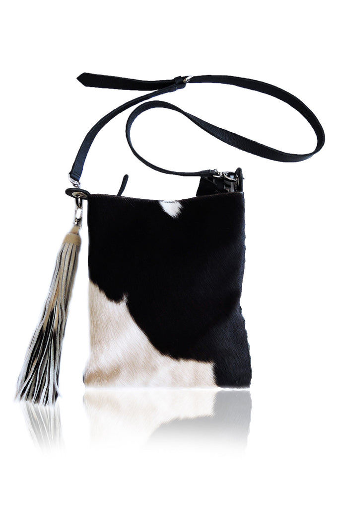Cross Body Bag. Amanda Bag in Black White Cowhide