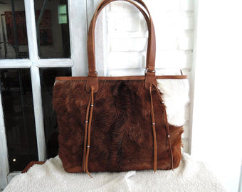 BROWN COWHIDE BAGS, Cowhide HandBag, Tote Bag