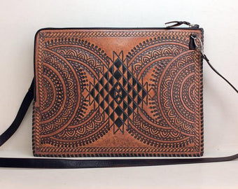 Folio Bag in Tan Handtooled