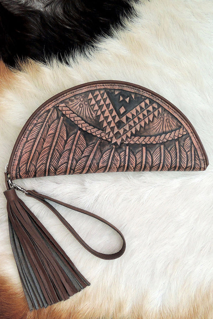 HAND TOOLED CLUTCH in Blonde Feather Carving. Moon Clutch Celestial