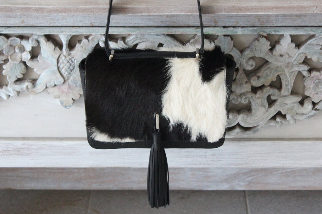 SMALL COWHIDE PURSE, Brazilian Black White Cowhide Bags, Princess Kate Fur Bag