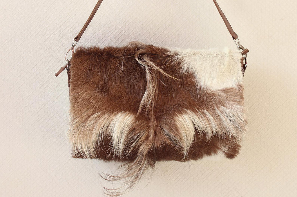 BROWN PURSE w/ STRAPS in Cowhide Hair. Mohawk Top Handle Bag