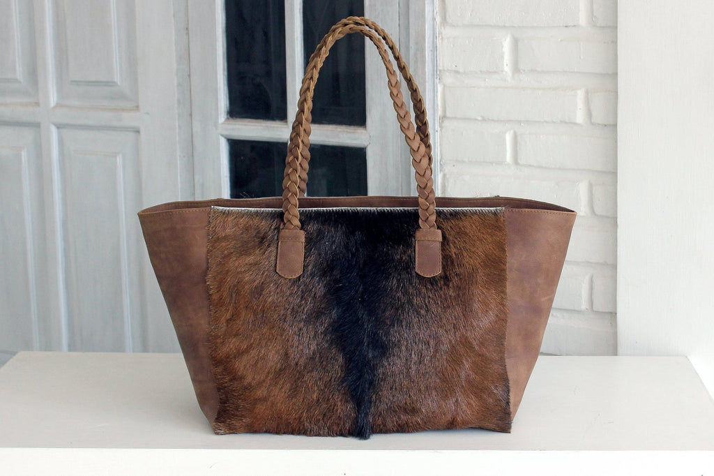 BROWN COWHIDE BAGS, Cowhide Shoulder Bag, Cowhide Tote Bag, Cowhide on Hair Bags