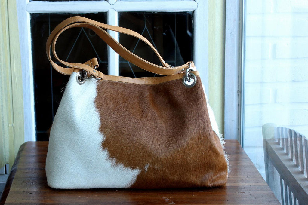 COWHIDE LEATHER BAG, Brown and White, Hair on Hide, CowHide Leather Tote.