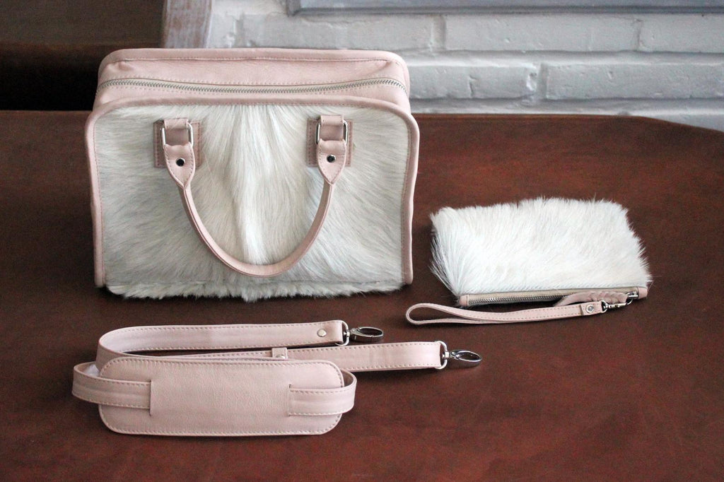 SMALL COWHIDE PURSE, White Cowhide Bags, Fur Bag, Leather Clutch Purse, Small Bag.