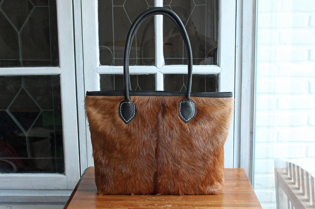 TOP HANDLE HANDBAG for Women, Brown Hide Hair Leather Tote, Anniversary Gift, Laptop Bag, Office Bag