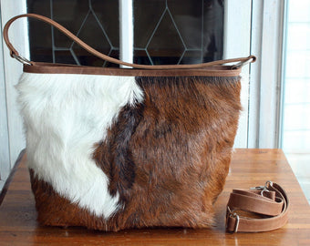 HAIR ON HIDE Tote Bag In Brown White Cowhide Hair, Shoulder Bag with Adjustable Strap, Handbag and purses, Country Tote, Cowgirl Valentine
