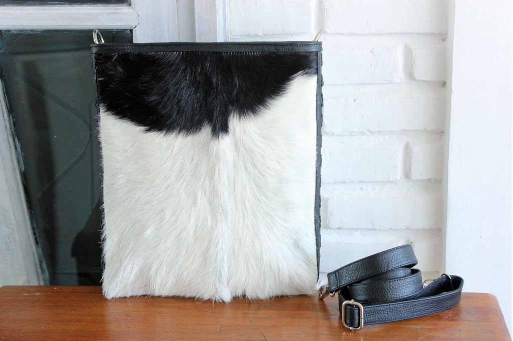 LEATHER CROSSBODY BAG in Black White Cowhide Sling Bag, Genuine Leather Handles, Boho Bag with Zipper on Top, Shoulder Purse For Women.