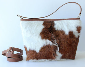 COWFUR LEATHER TOTE Bag, Cowhide Bucket Bag w Brown Handles, Women's Zipper Bag, Brown White Cowgirl Shoulder Bag, Valentine Gift