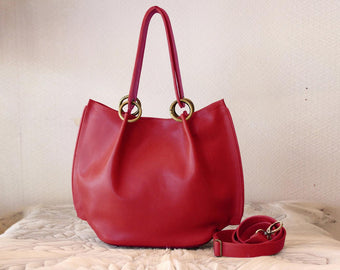 HANDBAG TOTE BUCKET in Leather . Cross Body Bag / Shoulder Bag / Tote Bag w/ Short & Long Strap. Claire Chic Bag / Red Wine Leather Handbag.