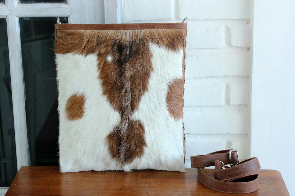 LEATHER CROSSBODY BAG In Brown White Hide Hair, Messenger Bag with Adjustable Strap, Bohemian, Sling Bag.