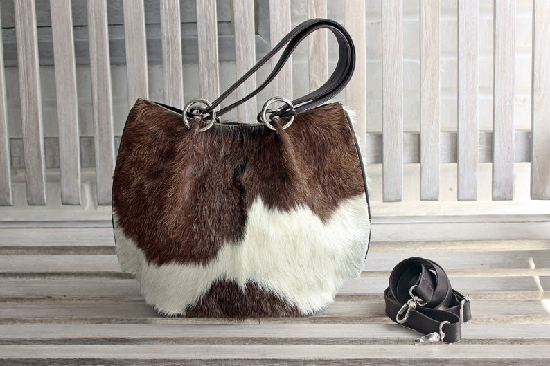 BROWN WHITE COWHIDE Leather Bag, Brown White Cowhide Purse. Brown Small Tote, CrossBody Cowgirl Purse