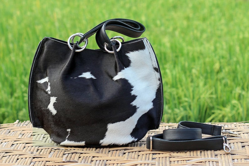 HAIR ON HIDE Bag, Black and White, Pony Hair Clutch, Small CrossBody Bag Black