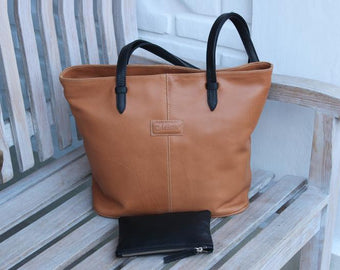 TAN LEATHER TOTE Bag w/ Black Leather Strap, Tan Overnight Weekender Leather Bag,Tan Laptop Cabin Luggage.