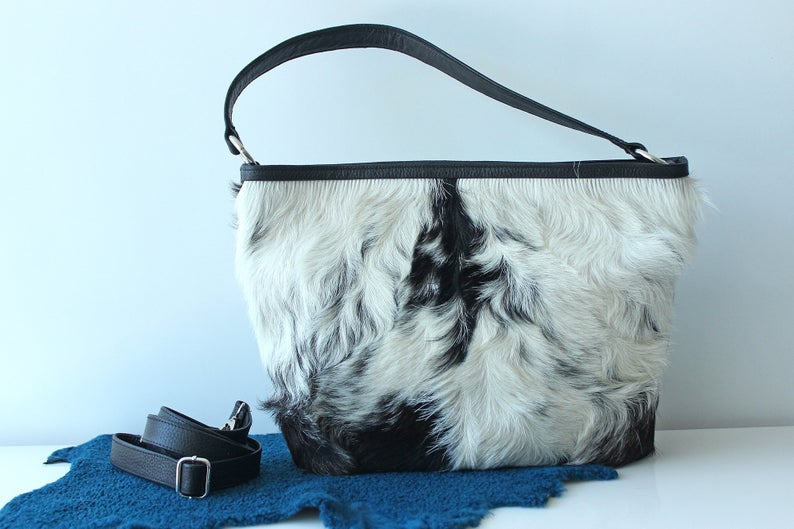 COWHIDE PURSE, COWHIDE Handbag, Leather Tote Bag. Country Tote Bag in Calf Hair Black White Speckled
