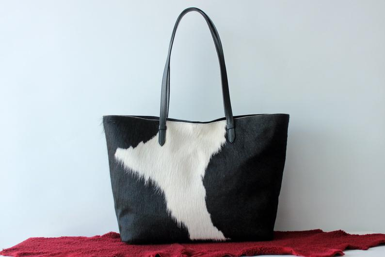 COWHIDE BAG in Black and White Hair on Hide. Weekender Bag / Calf Hair Bag w/ Leather Trim. Cow Fur Diaper Bag SouthWestern Bucket Bag