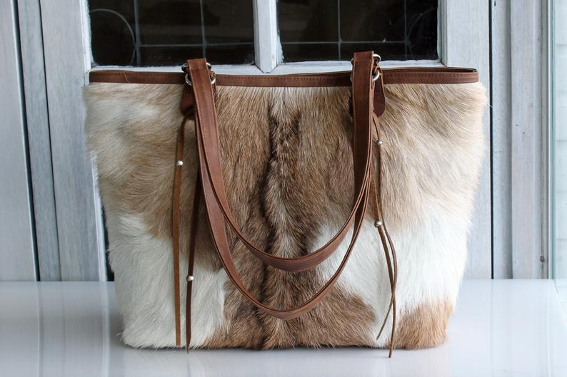 BROWN COWHIDE BAGS, Cowhide Shoulder Bag, Cowhide Tote Bag,Brown Tote Bag, Cowfur Brown Bag.