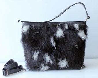 COWHIDE PURSE, COWHIDE Handbag, Leather Country Tote Bag in Calf Hair Black White - Cowhide Leather