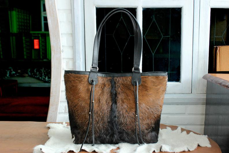 BLACK BROWN WHITE Western Cowhide, Hair on Hide Bucket Tote