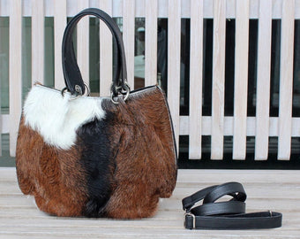 BROWN COWHIDE BAGS  Cowhide Tote Bag  Brown White Fur Purse  Brown Small Tote