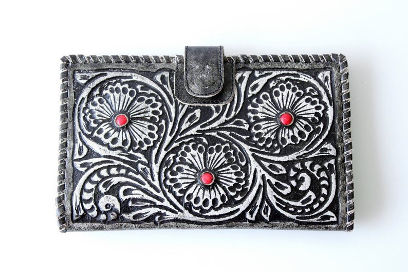 TOOLED LEATHER WALLET in Hand Crafted Hibiscus w/ Red Stones. Black Grey Clutch Multiple Card Slots