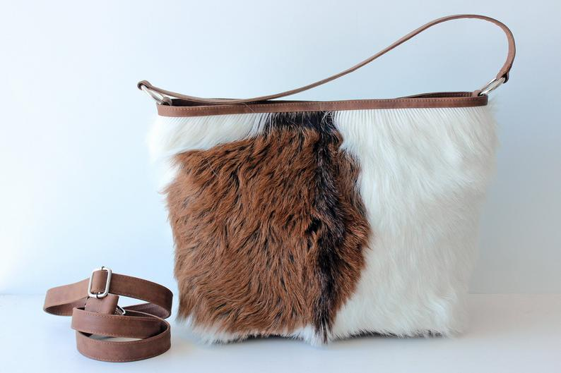 LEATHER HANDBAG WOMEN In Brown White Hide Hair, Cowhide Tote Bag w Zipper On Top, Crossbody Bag w Adjustable Strap, Brown White Leather Bag.
