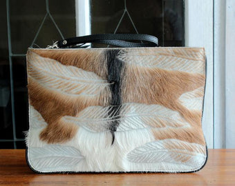 HIDE HAIR CLUTCH w Handcrafted Feather Carving In Brown White Calf Hair Purse / Cowfur Ipad Pouch / Evening Clutch w Black Trim Piping.
