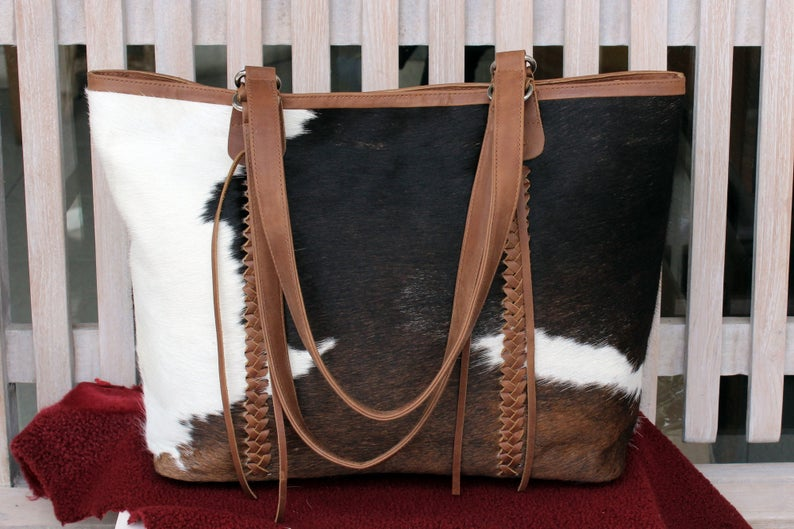 COWHIDE BAG in Black Brown and White Hair on Hide. Weekender Bag / Calf Hair Bag w/ Leather Trim.