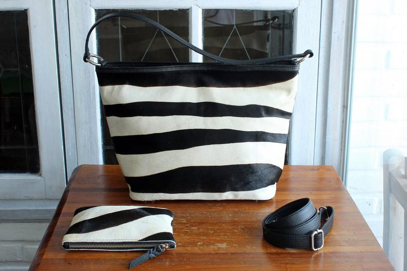 WOMEN'S TOTE BAG, Crossbody Bag for Women, Zebra Cowhide Hair. Hand Bag,Animal Pattern