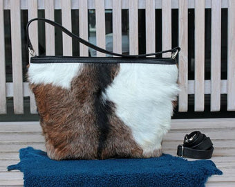 COWHIDE PURSE, COWHIDE Handbag, Leather Tote Bag. Country Tote Bag in Calf Hair Brown and White Designer Bag