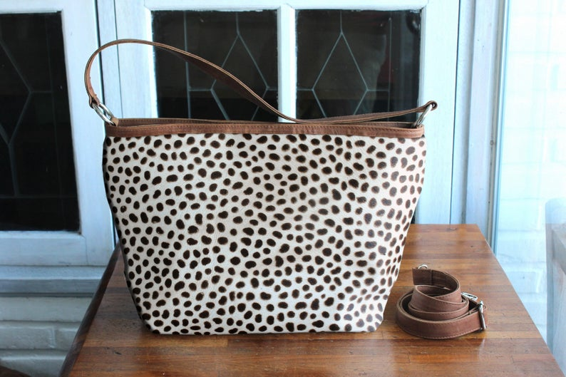 COWHIDE HANDBAG - Leopard Print Bag Calf Hair - Black and White Bag - Small Crossbody Bag, Women Handbags Hair on Hide