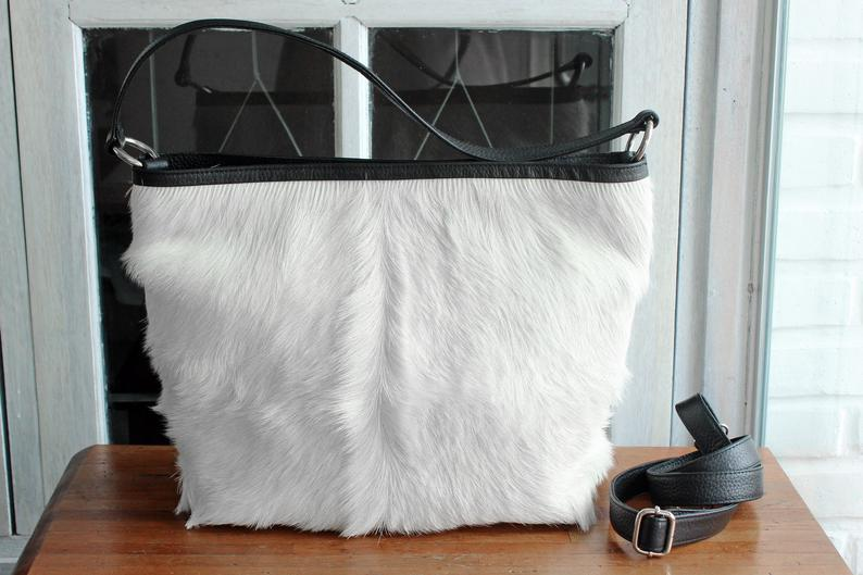 COWHIDE PURSE, COWHIDE Handbag, Hair on Hide Cow Leather - Winter White Shoulder/Crossbody - Natural Fur - Christmas - Tote Bags with Zipper