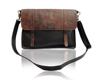ANTIQUE BLACK BROWN LEATHER Satchel Men.