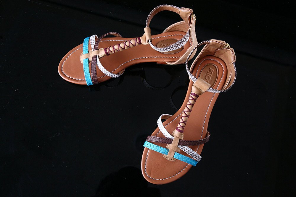 SNAKESKIN LEATHER SANDALS Turquoise. Hand Pleat Detail. Genuine Sheep Leather Insole
