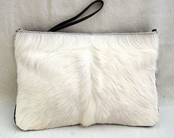 LEATHER CLUTCH In Black White Cow Hide Hair  Ipad Pouch with Black Trim.