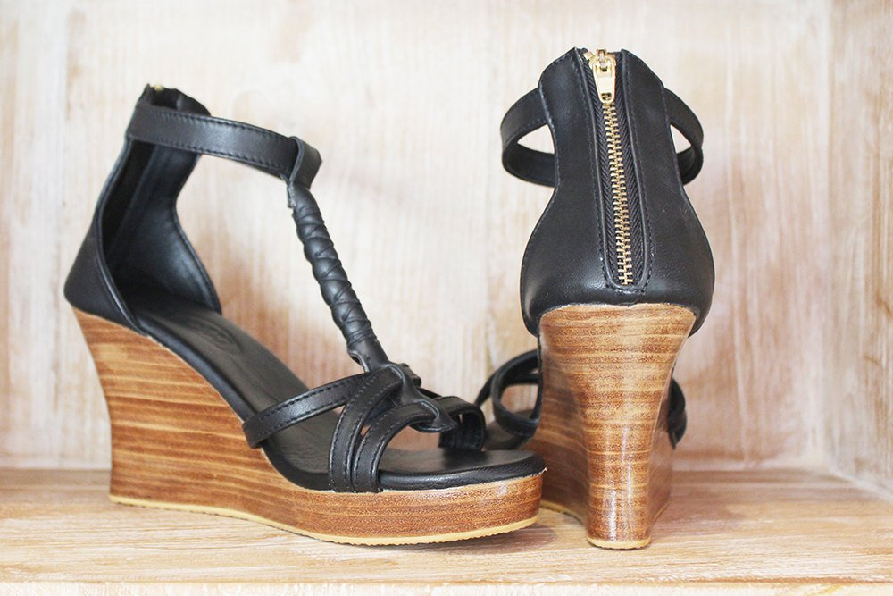 4778a0b503f7 BLACK PLATFORM SHOES   Heeled Leather Sandals   Smart Casual Wedges