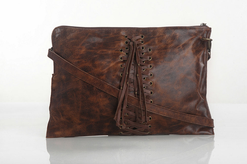 LEATHER DOCUMENT HOLDER / MacBook Pro w/ Cross Weave Antique Brown