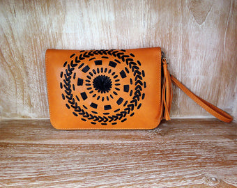 SMALL LEATHER WALLET Mandala Circles w/ Hand Woven Card Holder Wallet 100% Sheep