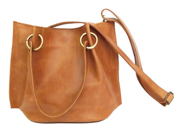 HANDBAG TOTE BUCKET in Leather . Cross Body / Tote w/ Leather Tassels