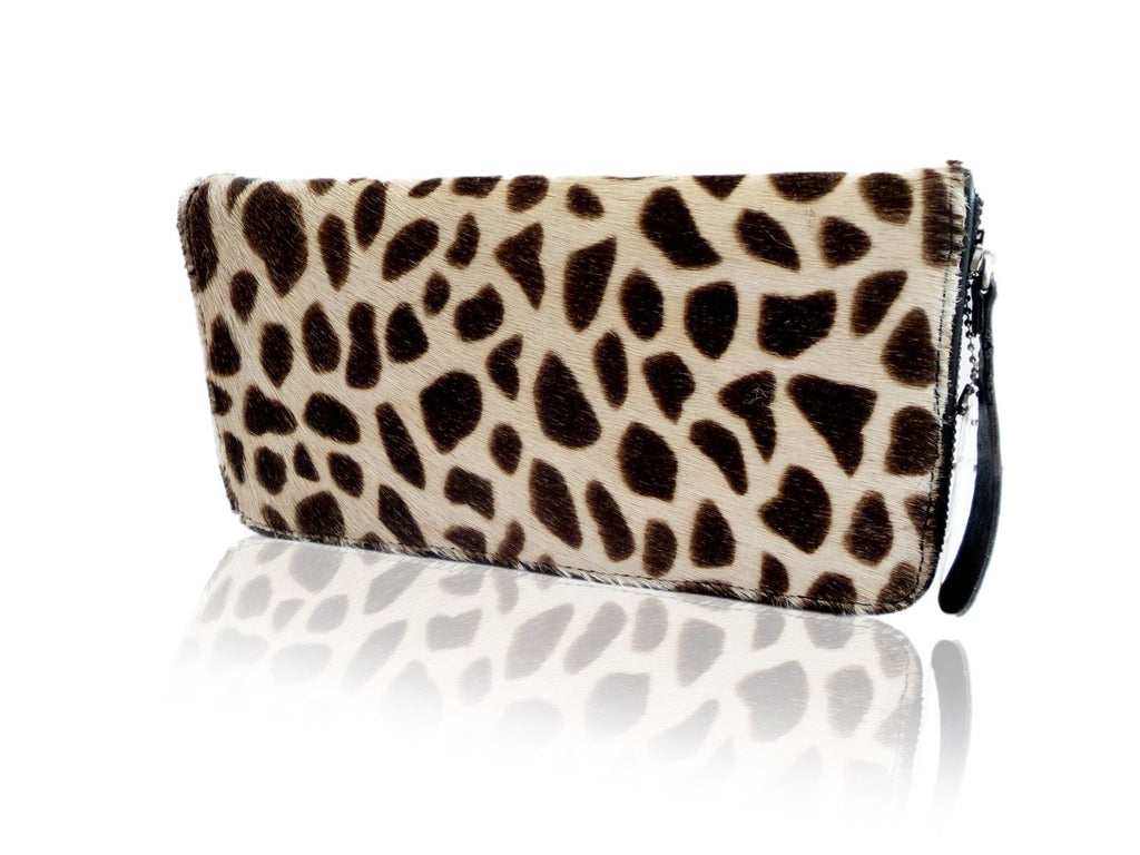 LEATHER WALLET in Giraffe / Travel Passport Wallet w/ Zipper. Full Sheep Lining